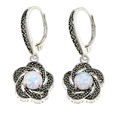 Marcasite and Synthetic Opal  Sterling Silver Flower Drop Earrings