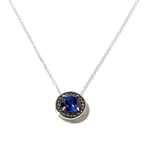 Marcasite & Synthetic Sapphire Sterling Pendant w/Chain