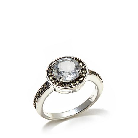 Marcasite and White Topaz Round Sterling Silver Ring