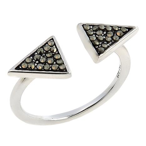 Marcasite Arrow Head Sterling Silver Split-Design Ring