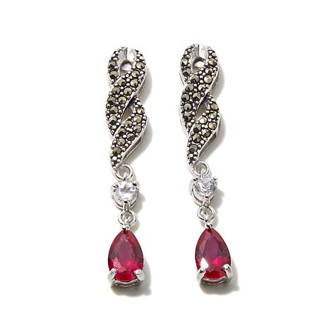 Marcasite, Created Ruby & Topaz Twisted Dangle Earrings