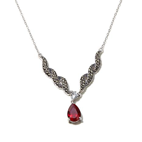 Marcasite, Created Ruby and White Topaz Twist Necklace