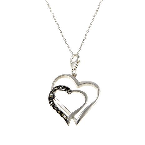 "Marcasite Double Heart Pendant with Removable Clasp & 18"" Cable Chain"