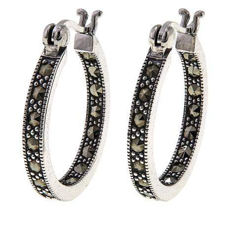 Marcasite Inside/Outside 25mm Hoop Earrings