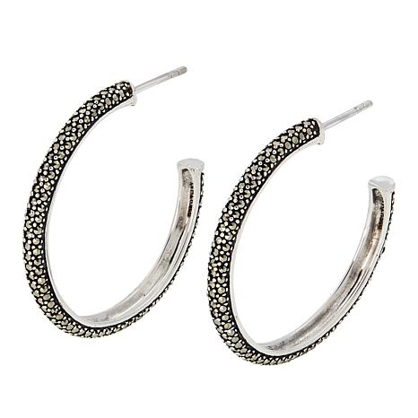 "Marcasite Sterling Silver 1"" Medium Hoop Earrings"