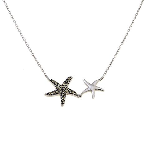 "Marcasite Sterling Silver Double Starfish 18"" Necklace"