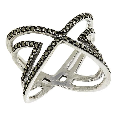 "Marcasite Sterling Silver Double ""X"" Negative-Space Ring"