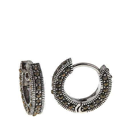 Marcasite Sterling Silver Hugger Hoop Earrings