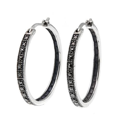 Marcasite Sterling Silver Medium Hoop Earrings