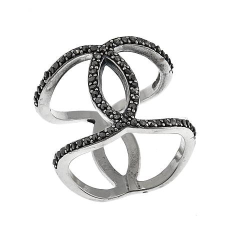 Marcasite Sterling Silver Negative-Space Crossover Ring