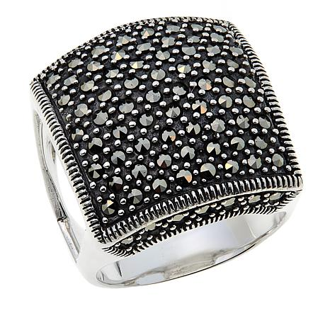 Marcasite Sterling Silver Raised Square Domed Ring