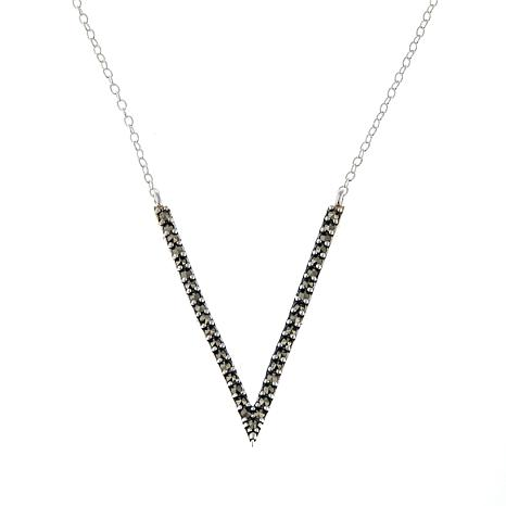 "Marcasite V-Drop Sterling Silver 16"" Cable-Chain Necklace"