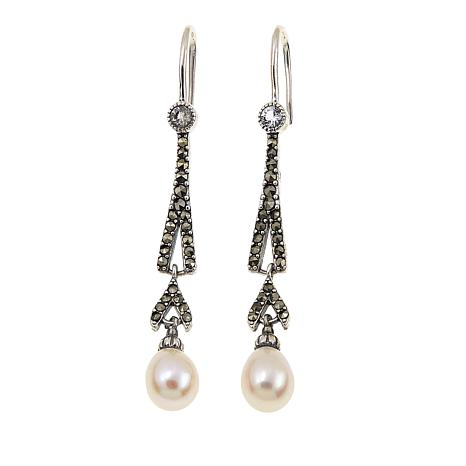 Marcasite, White Topaz and Cultured Pearl Dangle Earrings