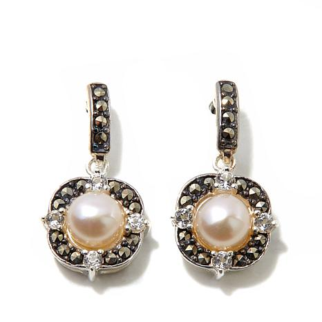 Marcasite, White Topaz and Cultured Pearl  Earrings