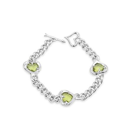 Margo Manhattan Sacred Heart Sterling Silver Gemstone Link Bracelet