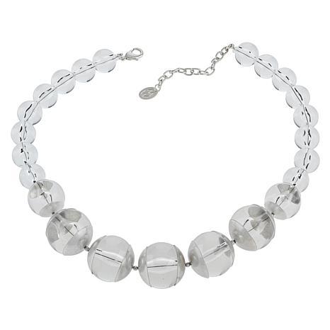 "MarlaWynne 20"" Clear Acrylic Ball Graduated Necklace"
