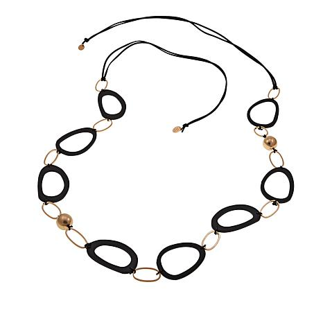 """MarlaWynne Black Open Link and Metal Station 79"""" Necklace"""