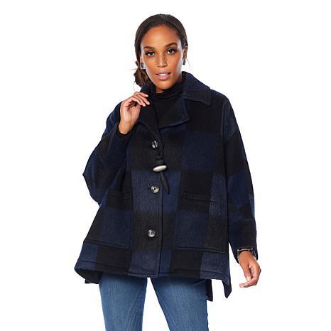 MarlaWynne Graphic Plaid Wool Coat