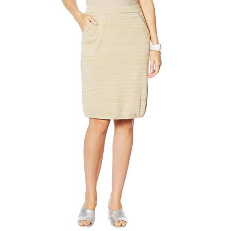 MarlaWynne Matte and Shine Easy Knit Skirt with Pockets