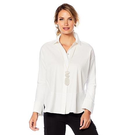 0aea44dc222db MarlaWynne Mixed Media Poplin Shirt - 8647357
