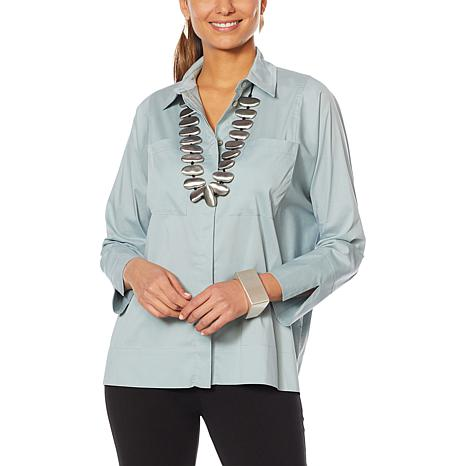 MarlaWynne Stretch Poplin Shirt with Pockets