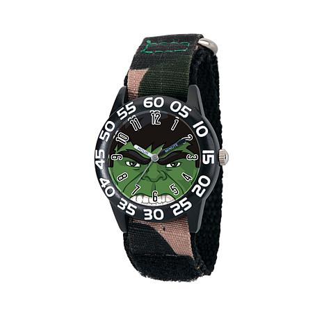 Marvel Hulk Kid's Time-Teacher Watch with Dark Green Strap