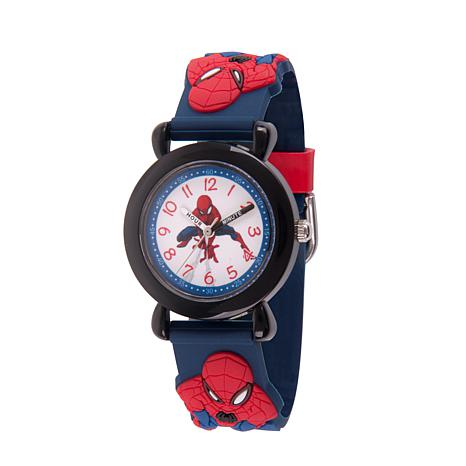 Marvel Spider Man Kids Black Time Teacher Watch with 3-D Strap