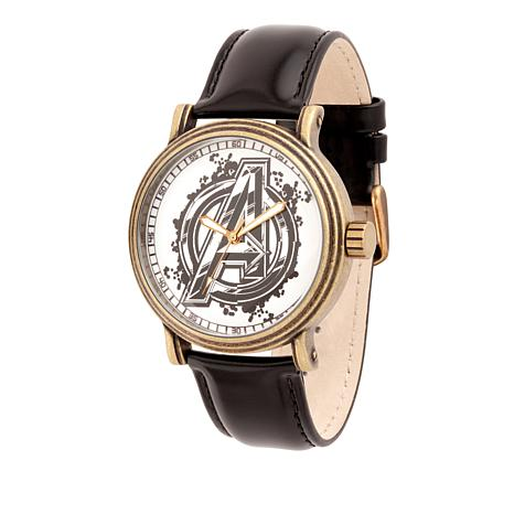 Marvel's Avengers Bronzetone Black Leather Strap Watch