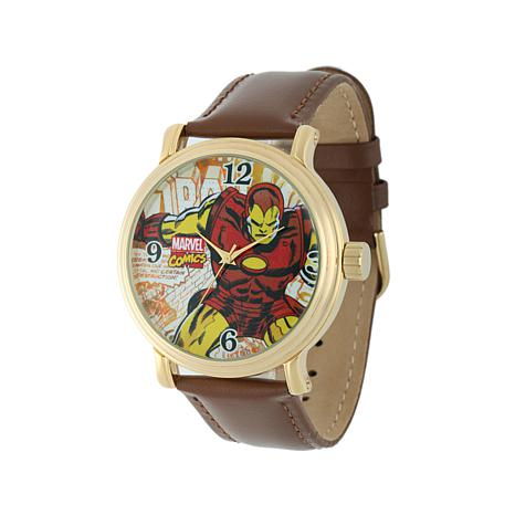 Marvel's Iron Man Goldtone Brown Leather Strap Watch