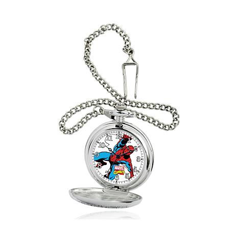Marvel's Spider Man Silvertone Pocket Watch