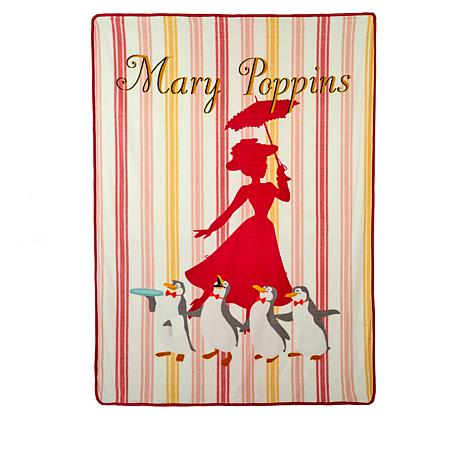 Mary Poppins Returns Mary and Penguins Silk Touch Throw