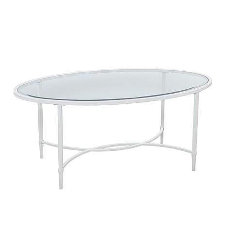 Melinda Metal/Glass Oval Cocktail Table - White