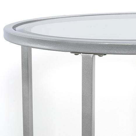 ... Melinda Metal/Glass Oval Side Table   Silver ...