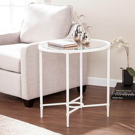 oval side table. Melinda Metal/Glass Oval Side Table - White L