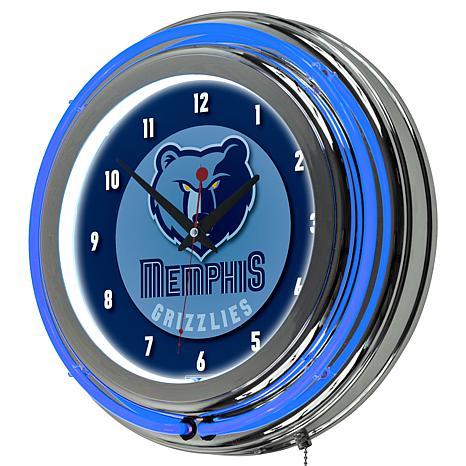 Memphis Grizzlies Double Ring Neon Clock