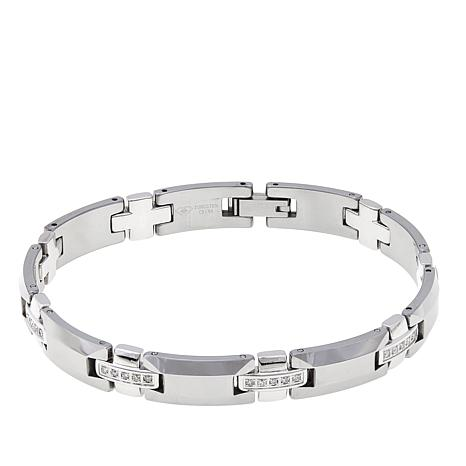 "Men's 0.48ctw Diamond-Accented Tungsten 8-1/2"" Bracelet"