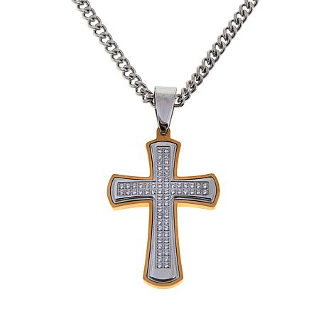 "Men's 0.51ctw CZ 2-tone Cross Pendant with 24"" Chain"
