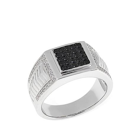 Men's .60ctw Black and White CZ Sterling Silver Ring