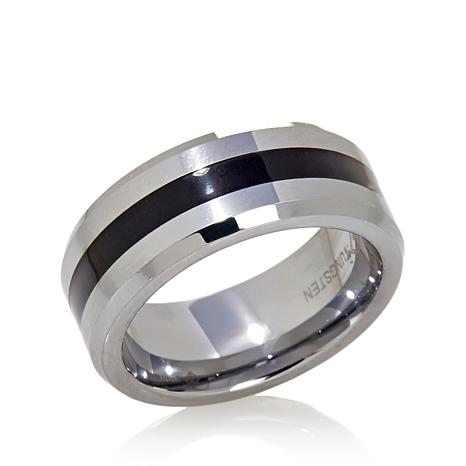 Men's 8mm Black Resin Inlay Tungsten Band Ring
