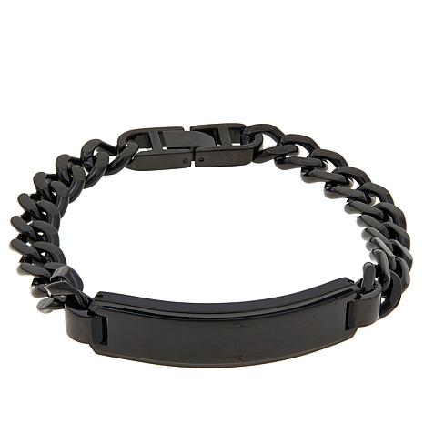Men S Black Stainless Steel Id Bar Curb Link Bracelet