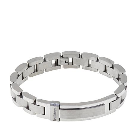 Men's Diamond-Accented Stainless Steel ID Link Bracelet