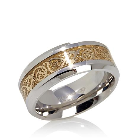 Men S Goldtone Filigree Inlay Stainless Steel Band Ring