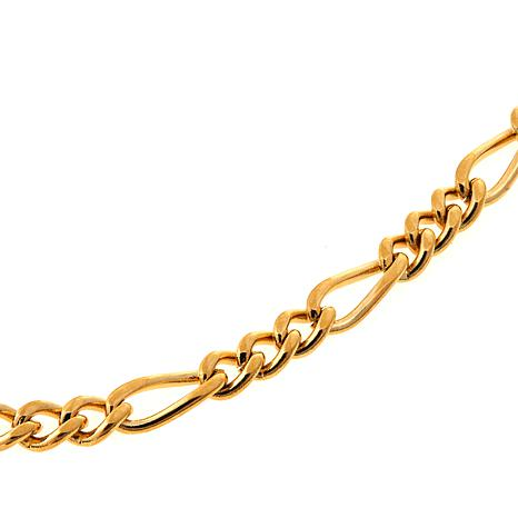 "Men's Goldtone Stainless Steel Figaro Link 24"" Necklace"