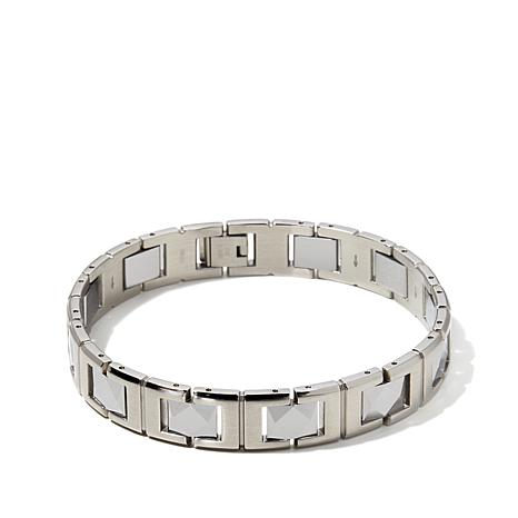 """Men's Stainless Steel and Tungsten Link 8-1/2"""" Bracelet"""