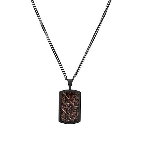 Men's Stainless Steel Camouflage Inlay Dog Tag Necklace