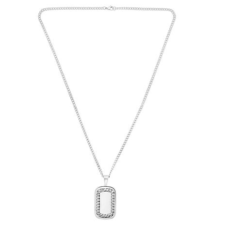 Men's Stainless Steel Chain Inlay Dog Tag Pendant with Chain Necklace