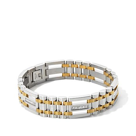 "Men's Stainless Steel CZ-Accented 2-Tone 9"" Bracelet"
