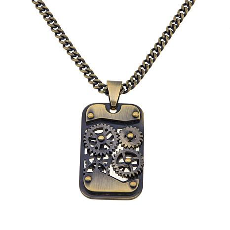 """Men's Stainless Steel """"Gear"""" Dog Tag Pendant/Chain"""