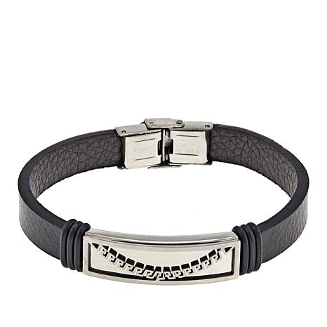 Men's Stainless Steel Greek Key Black Leather ID Bracelet