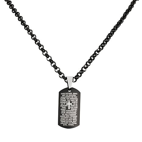 Men's Stainless Steel Lord's Prayer Dog Tag Pendant with Chain